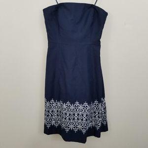 LOFT Navy Blue Strapless Dress w Silver Embroidery